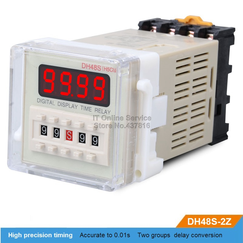 DH48S-2Z 220V/12V/24V LED Digital display Time relay Two groups delay buy one get one base pedestal led digital display circle delay time relay module time adjustable blue 12v