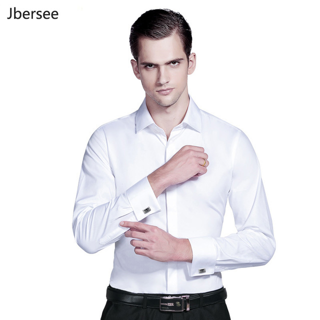 Hommes robe chemises français manchette bleu blanc à manches longues formelle mariage affaires décontracté hommes Slim Fit français boutons de manchette chemise 5XL