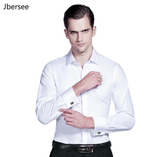 9fd2b984348 Men Dress Shirts French Cuff Blue White Long Sleeve Formal Wedding Business  Casual Shirt Men Slim Fit French Cufflinks Shirt 5XL