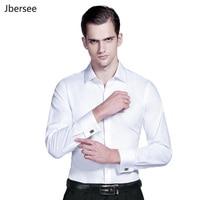 Men Dress Shirts French Cuff Blue White Long Sleeve Formal Wedding Business Casual Shirt Men Slim Fit French Cufflinks Shirt 5XL