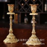 Gold Candleholders Metal Candlestick Flower Vase Table Candle Stand Wedding Candlestick Candelabra Weeding Lantern 3DZTY52