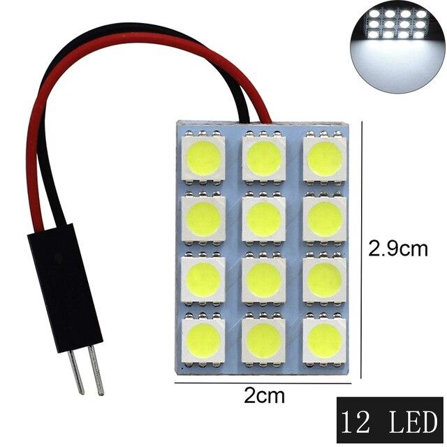 1 ensemble voiture panneau lecture carte lampe 5050 6 9 12 15 24 36 48 LED SMD dôme intérieur ampoule toit lumières BA9S T10 C5W adaptateur Festoon Base 3