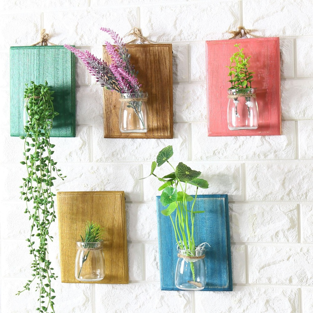 free shipping postral style glass wooden wall flower pot vase vintage wooden wall rack. Black Bedroom Furniture Sets. Home Design Ideas