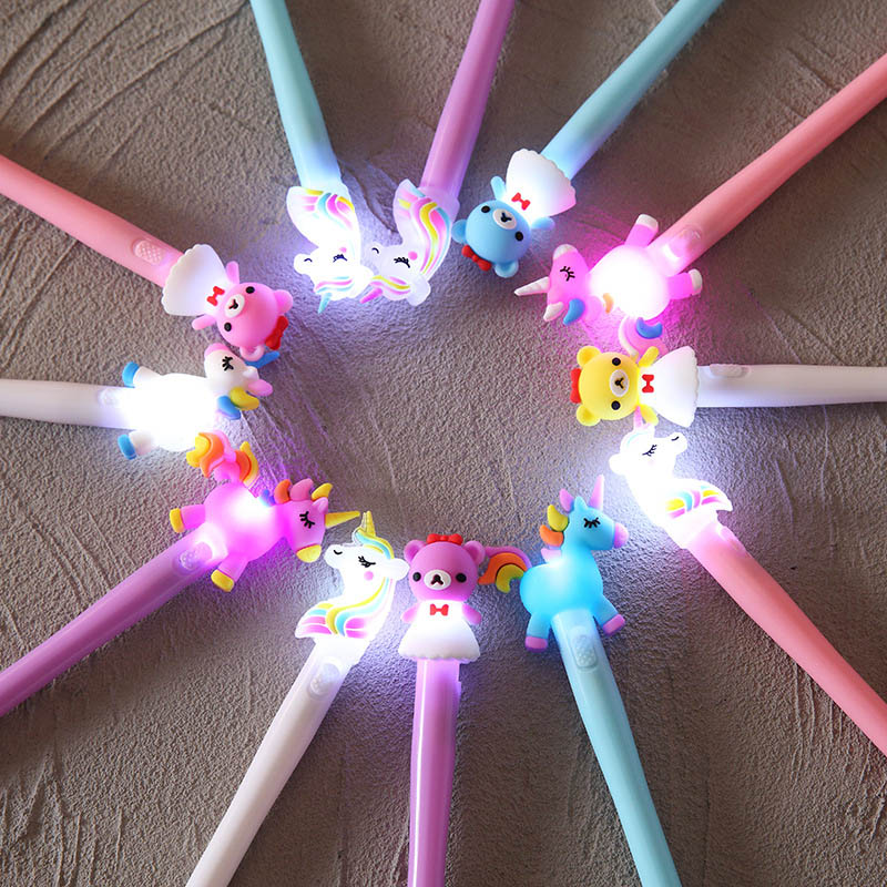 1PC Cute Bear Unicorn Pens Kawaii Neutral Pens Light Gel Pens For Kids Girls Gift School Office Supplies Novelty Stationery