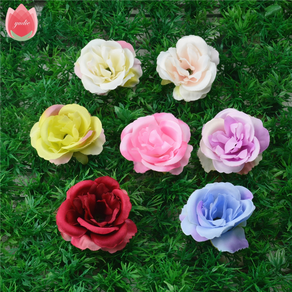 10pcs Spring Silk Blooming Rose Artificial Flower Head For Wedding Home Decoration Camellia Mariage Flores Rosa Flowers Plants