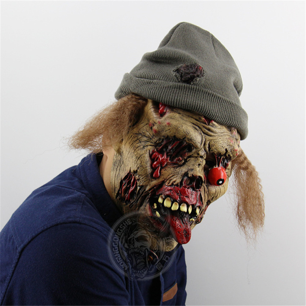 Cosplay Halloween Carnival mask Zombie Horror Disgusting adult mask with hat Goblin Halloween Bar Haunted House Props