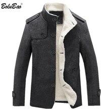 Bolubao casaco masculino de lã, de 2020, para o inverno, cor sólida, grosso sobretudo