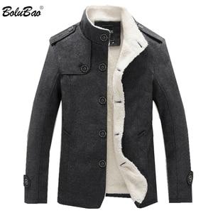 Image 1 - Bolubao casaco masculino de lã, de 2020, para o inverno, cor sólida, grosso sobretudo