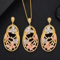 Fashion Long Chain Butterfly Necklace Big Drop Earrings Jewelry Sets For Women Luxury CZ Party Weddings Jewelry Sets