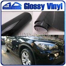 Wasserdicht Schwarz Gloss Vinyl Car Wrapping Glossy Vinyl Wrap Mit Air Channel Shinning Glänzend Film 1,52*30 mt/ rolle(China)