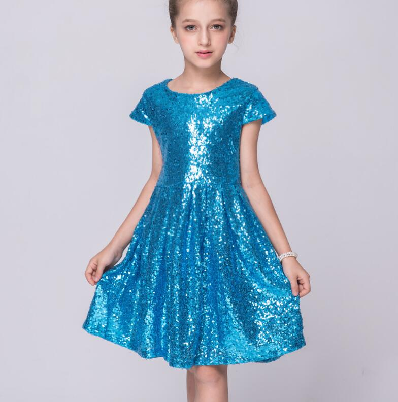 Children's short sleeve performance princess dress girls sequins paillette dancing dress Family Matching Outfits R513