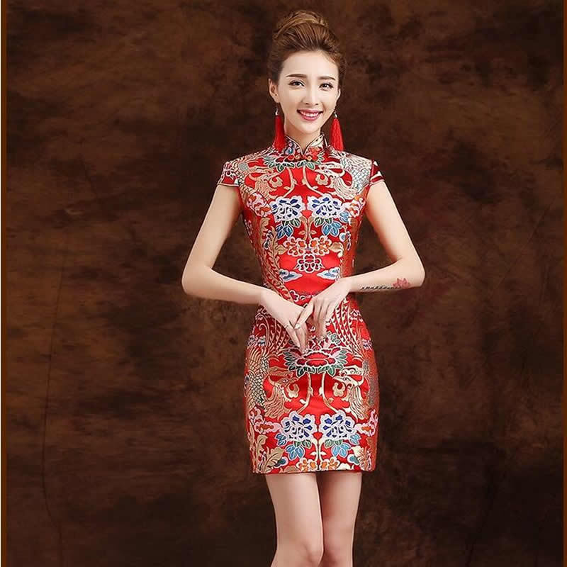 traditional chinese dress qipao red modern cheongsam mini