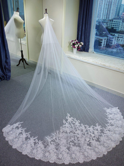 Online Shop 3 Meter White Ivory Cathedral Wedding Veils Long Lace ...