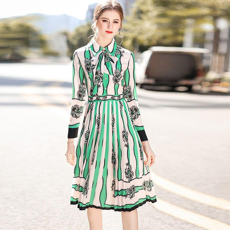 High quality 2018 spring Runway turn down collar long sleeve defined waist pleated dress Women Knee-Length dress