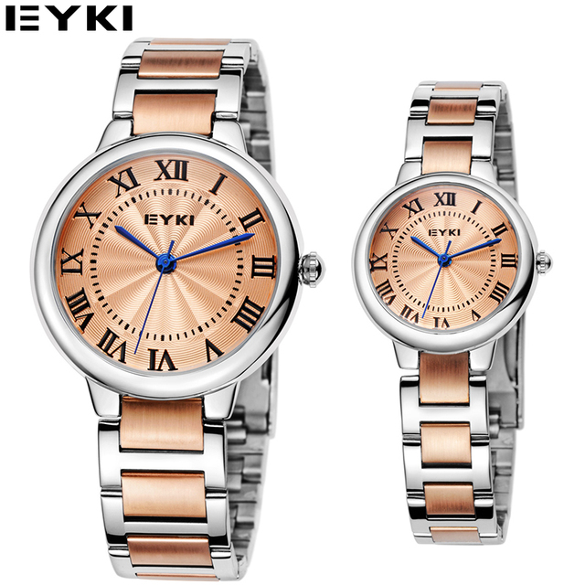 EYKI 2016 New Elegant Alloy Band Watches For Lovers Vintage Bracelet Clasp Women Wristwatch 10 Meters Water Resistant Male Watch