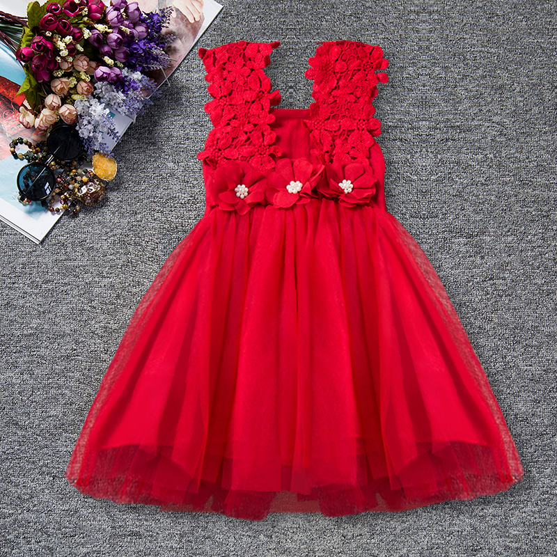 Summer Princess Flowers Girls Dresses Toddler Girl Party Child's Wear Tutu Baby Girl Clothing Princess Kids Vest Dress Vestidos 2018 summer new girls clothing lace mesh splicing baby dresses for girl party princess dress fashion petal kids girls dresses
