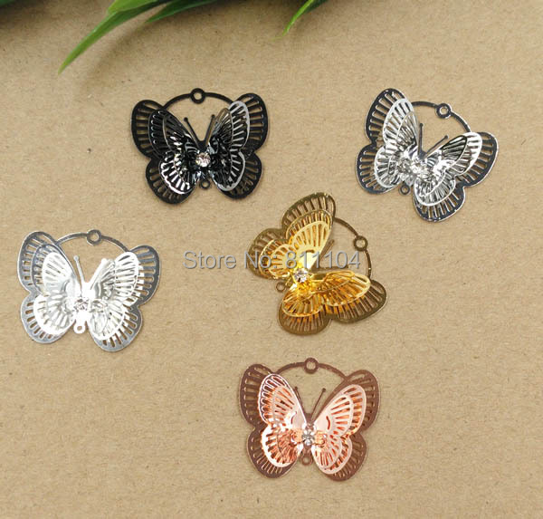 30x25mm Multi-color Plated Brass Blank Filigree Butterfly Links Wraps Connectors Jewelry Findings Connectors Charms