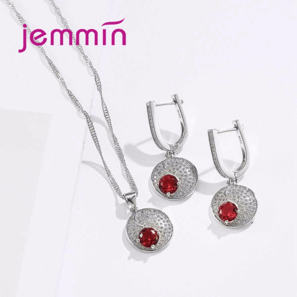 HTB1eEeGahHBK1JjSZFkq6zg9VXa9 Simple Style Round 925 Sterling Silver Necklaces Earrings Jewelry Set With Fine Red Crystal For Women Lady Party