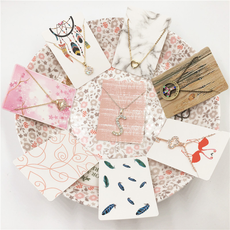 Jewelry Packaging & Display 2019 New 100pcs Jewelry Paper Cards 12 Styles Printing Necklace Hang Tag Jewelry Display Cards Label Tag Organizer 4.5x10.8cm Beads & Jewelry Making