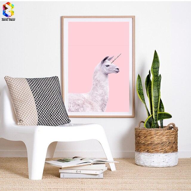 Nordique Licorne LAMA Affiches Et Impressions Mur Art Toile Peinture Photos  Pour Salon Scandinave Animal Rose