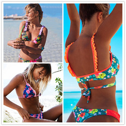 2019 New Ruffle Bikinis Women Swimsuit Cross Bandage Swimwear Push Up Bikini Set Beach Bathing Suit Brazilian Biquni Print