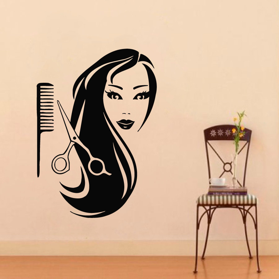 barbershop 3d poster wall decal beauty beauty salon hairdressing vinyl wall wall sticker. Black Bedroom Furniture Sets. Home Design Ideas
