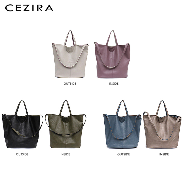 CEZIRA Vegan Leather Casual Fashion Tote Handbags for Girls Two Color Reversible Soft Large Women Shoulder Bag Bucket Handy Bags 2
