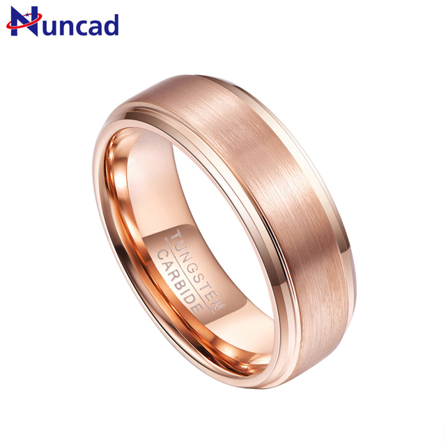 Nuncad T075r Man S Band Comfort Fit 7 12 Wedding Rings Gold Tungsten Steel Ring Gift