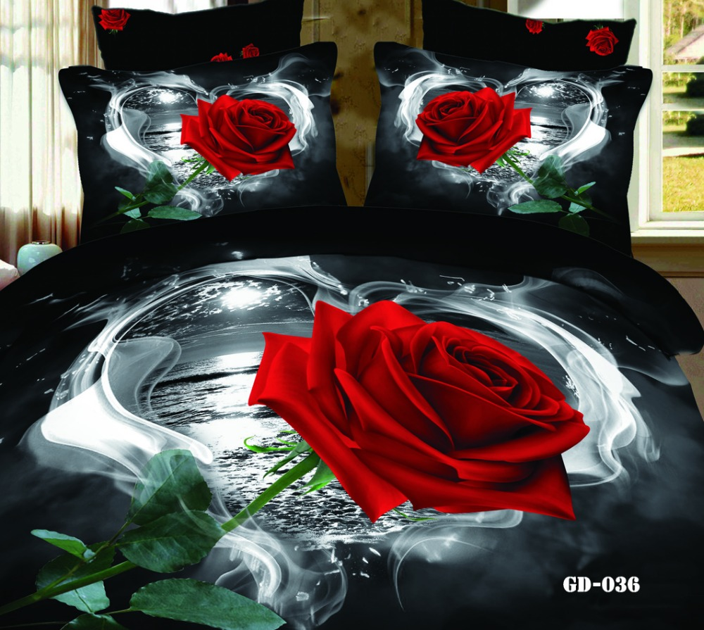 Red and black bedding - Black Red Rose Flower 3d Printed Bedding Set Egytian Cotton 600tc Duvet Covers Bedspreads Cal King