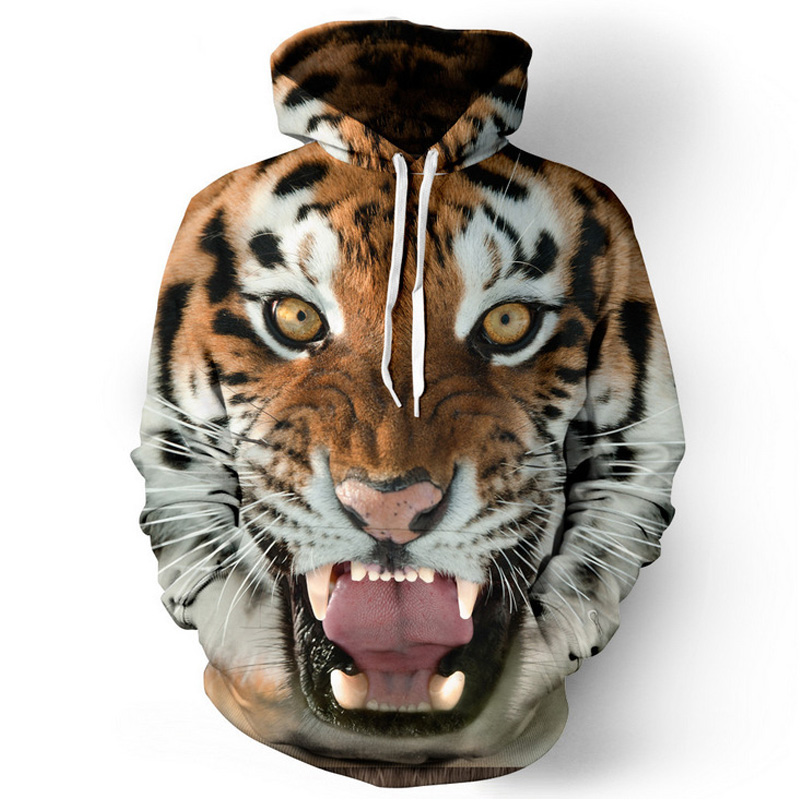 Men hip hop hoodies - 3D Tiger