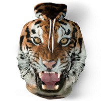2017 Men Hoodies Hip Hop Sweatshirt Funny 3D Tiger Lion Fashion Brand Plus Size S 5XL