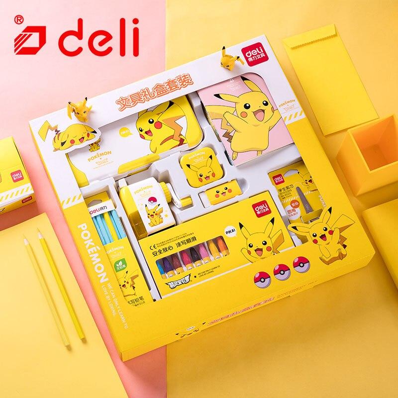 Ensemble de papeterie Deli Pokemon papeterie étudiant crayon/taille-crayon/cahier/crayon de couleur Kits d'apprentissage fournitures scolaires