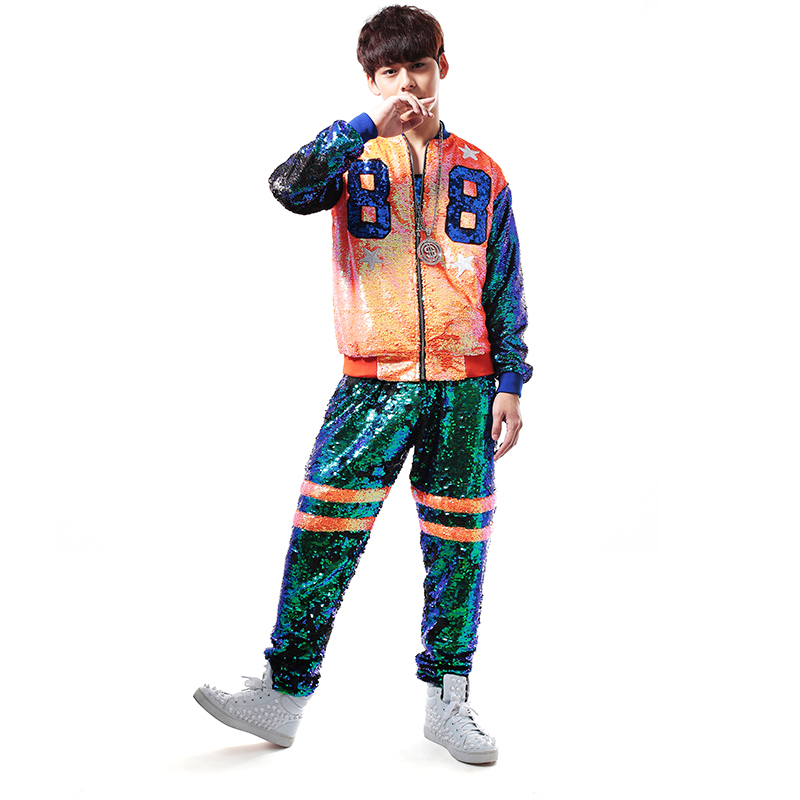 2015 Newly Male Colorful color block Paillette Baseball Uniform costume Nightclub bar singer stage perforance set