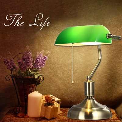 Chiang Kai-shek Republic old Shanghai Bank lamp Glass Green Cover bedroom bedside study creative diffuse Cafe Retro Lamps