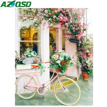 AZQSD 5d Diamond Painting Flowers Picture Of Rhinestones Mosaic Scenery Gift Embroidery Bicycle Home Decor