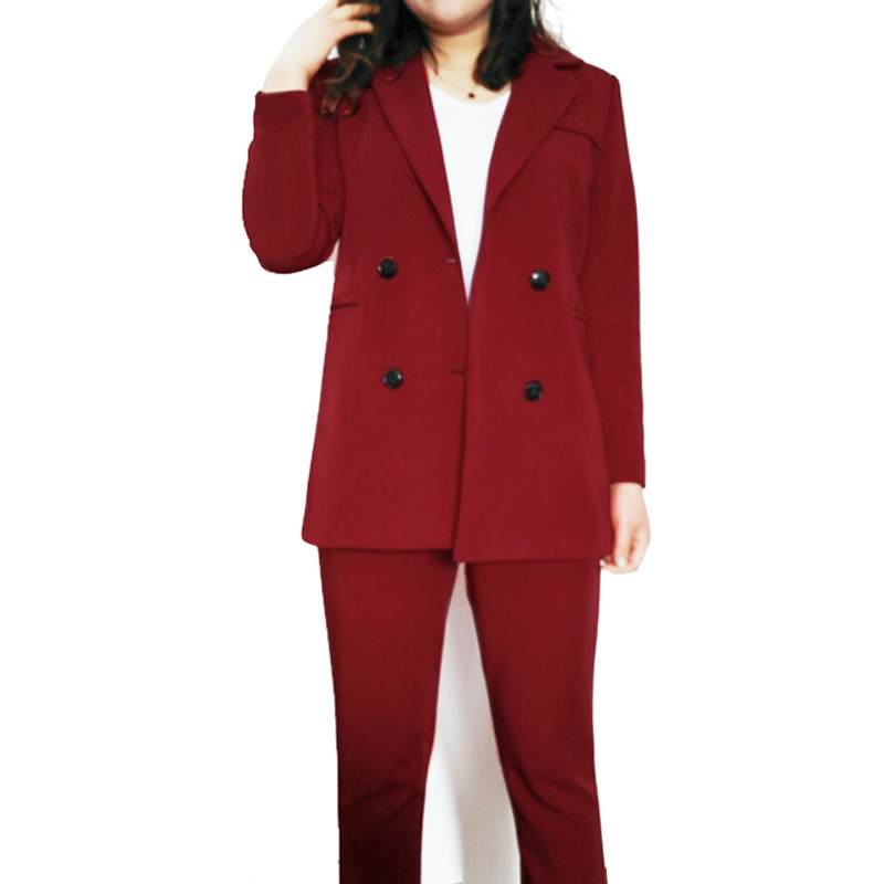2019 Spring Suit New Women's Suit Double Row Buckle Pantsuit Suit Professional Suit