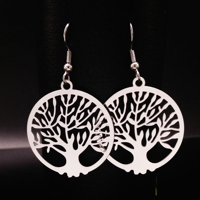 2018 New Bohemian Silver Color Stainless Steel Drop Earrings For Women Hollow Tree Of Life