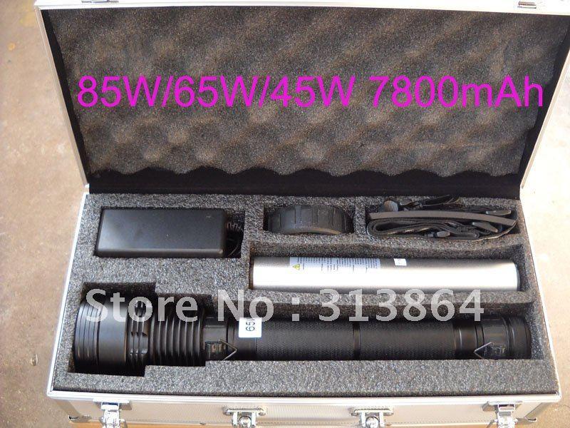 85W/65W/45W 3-power HID Xenon Flashlight 8500LM 7800mAh Battery HID Hunting/Hiking Lamp