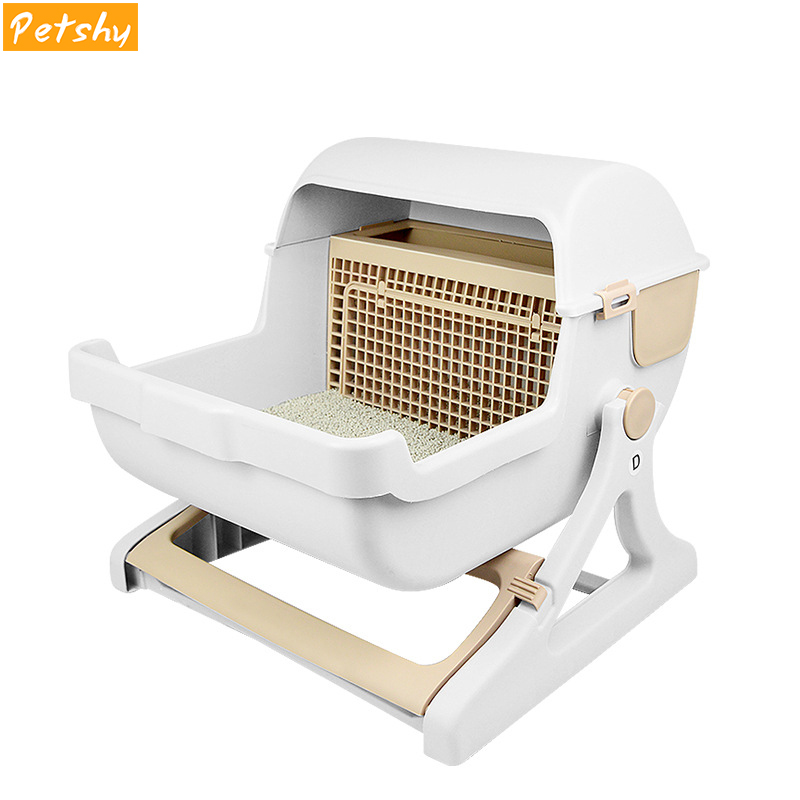 Petshy Luxury Cat Toilet Training Kit Litter Box Plastic Puppy Kitten Small Animal Bedpans Trainer Toilet Pet Cleaning Supply 翻轉 貓 砂 盆