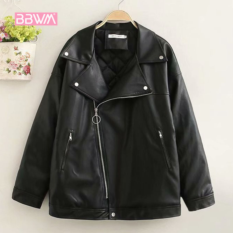 Winter large size women s 2018 winter new Korean version was thin thick pu leather jacket