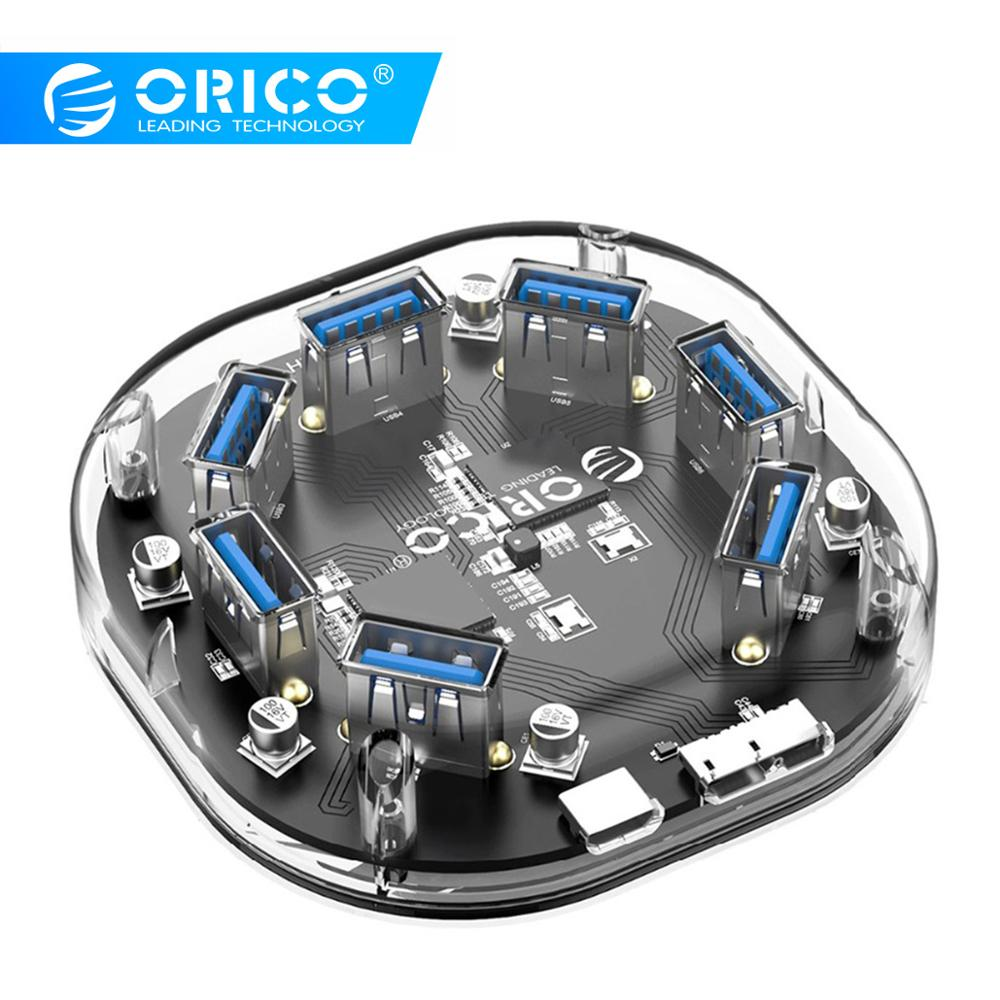ORICO Transparent 4 7 Port USB3.0 HUB With Dual Power Supply Interface Portable High Speed 5Gbps USB Splitter For MacBook Laptop