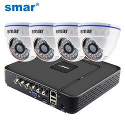 CCTV 4CH Hybrid DVR система видеонаблюдения 720P 1080P комплект камеры AHD дневная и Ночная AHD купольная камера комплект VGA HDMI выход пластик