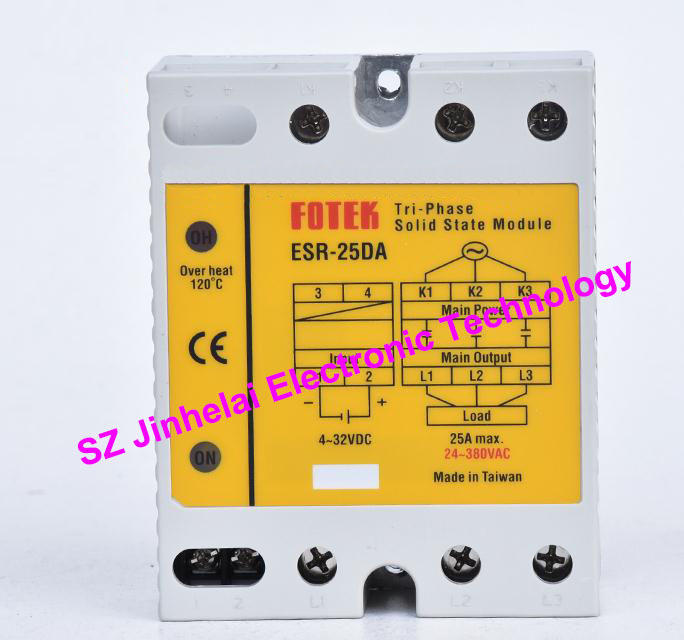 ESR-25DA  New and original FOTEK  Three-phase solid state relay,3-Phase Solid state module  25A brand new original japan niec indah pt200s16a 200a 1200 1600v three phase rectifier module