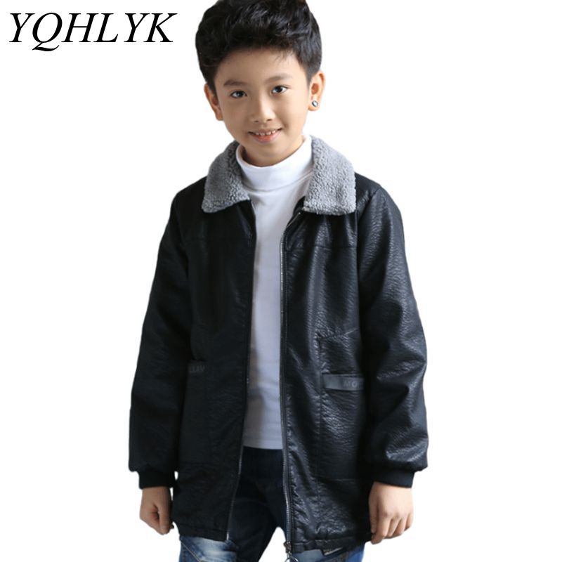 New Fashion Autumn Winter Boys Coat 2018 Korean Children Long-Sleeved Black Leather Jacket Casual Handsome Kids Clothes W199 free shipping 2016 autumn winter new korean version fashion city men slim casual zipper cotton padded jacket cheap wholesale