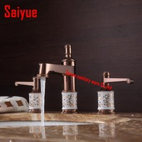 Bathroom faucet three holes dual handle 8 Widespread rose gold basin sink mixer water taps solid brass in the bathroom products