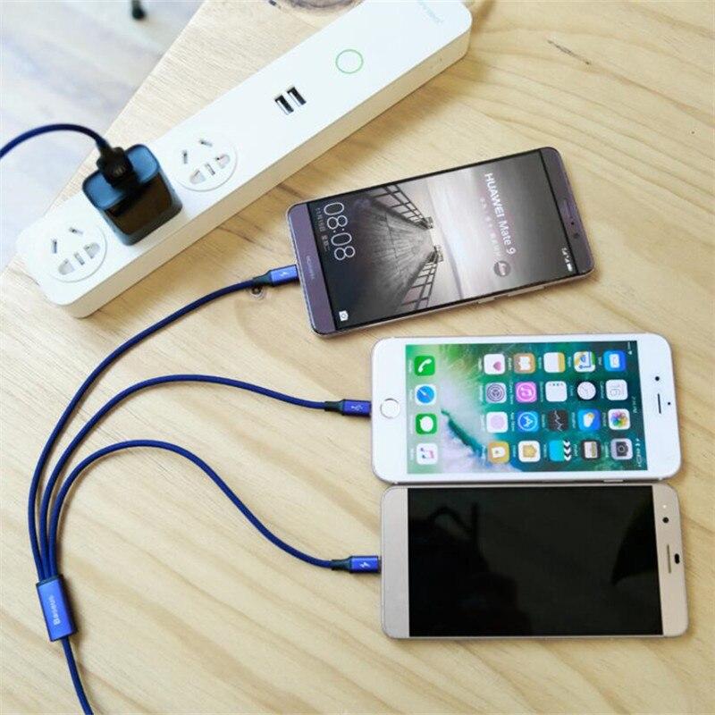 Para iPhone6 7/Android/Tipo C 3 en 1 Micro USB 1,2 M Cable Universal 2.4A carga rápida para teléfonos móviles Cables de carga rápida 8Pin Cargadores de teléfono móvil    - AliExpress