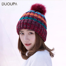 Winter and Autumn Female Cap Curling Wool Cap Plush Outdoor Ball Warm Knitted Cap New Korean Edition Tide new explosive warm mink wool ball cap autumn and winter wool cap 100 sets of simple warm knitted headgear cap