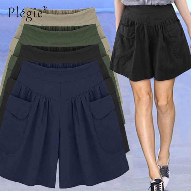 Plegie 2018 Summer Loose Casual   Shorts   Women Plus Size High Waist   Shorts   Fashion Skirt   Shorts   Beach Large Size   Shorts   For Women