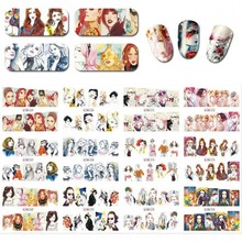 12 Pcs/ Set Water Decals For Nails Beautiful Girl Design Full Cover Water Transfer Nail Sticker Decoration DIY Nail Art Decals diy water transfer foils nail art sticker fashion nails cartoon harajuku sailor moon decals minx nail decorations