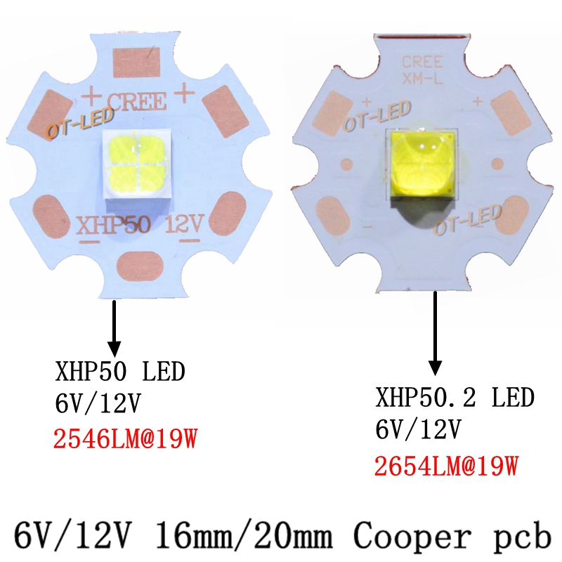 2pcs CREE XHP50 XHP-50 XHP50.2 LED 2 generation Cold White Neutral White Warm White LED Emitter 6V 12V with 16mm 20mm Copper PCB 1pcs cree xlamp xhp 70 xhp70 6v warm neutral cold white 30w high power led emitter chip blub lamp light with 20mm pcb heatsink
